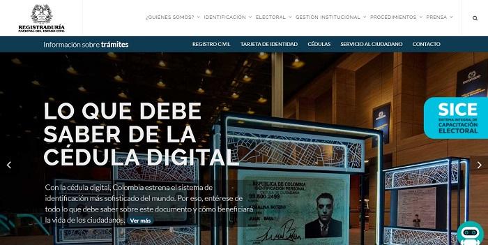 Página web de la Registraduría
